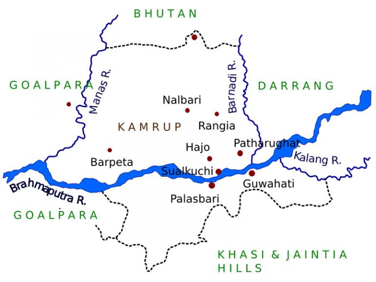 The 7th and 8th century extent of Kamarupa kingdom, located on the eastern region of the Indian subcontinent, what is today modern-day Assam, Bengal and Bhutan.