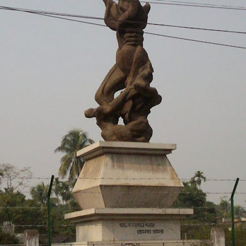 Language Martyr's Memorial at Silchar Railway Station in Assam, India.